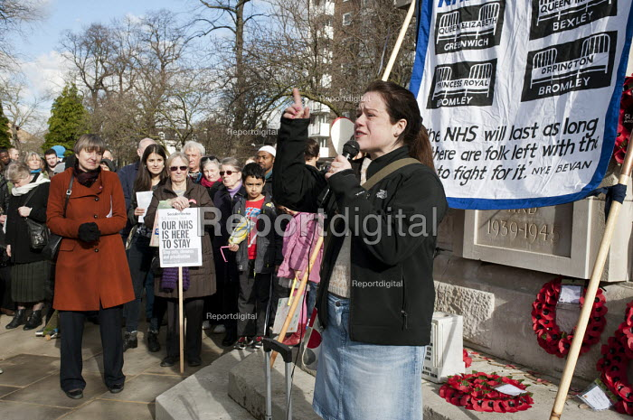 Kelly McGuinness, FBU. Health workers, patients, locals and trade unions, Save Lewisham Hospital Campaign rally outside the hospital to protest at proposed closure of A&E and maternity services. - Philip Wolmuth - 2013-02-15