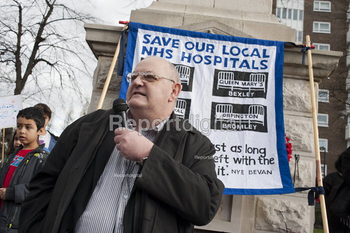 Phil Rose, Unite Regional Officer. Health workers, patients, locals and trade unions, Save Lewisham Hospital Campaign rally outside the hospital to protest at proposed closure of A&E and maternity services. - Philip Wolmuth - 2013-02-15