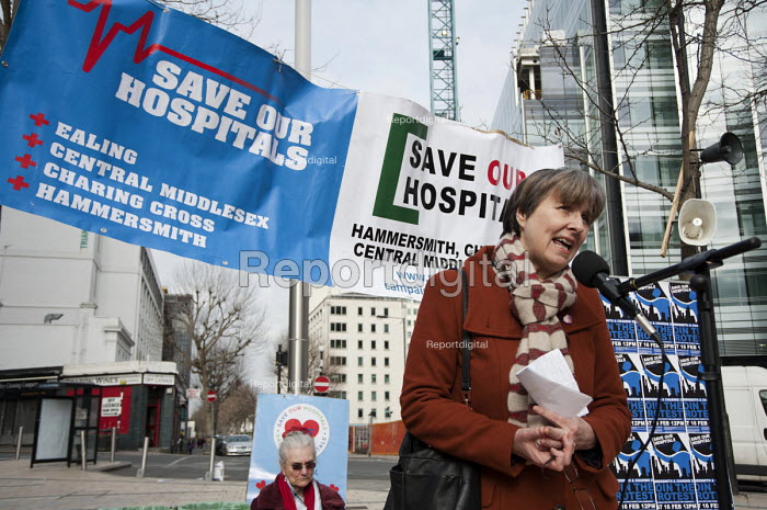 Dr. Louise Irvine, a GP and chair of Save Lewisham Hospital campaign, addresses a rally Save our Hospitals. A rally to protest at proposed closures of A&E departments at Hammersmith and Charing Cross hospitals. - Philip Wolmuth - 2013-02-16