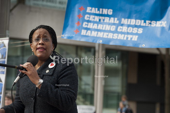Donna Guthrie, of Black Activists Rising Against Cuts (BARAC)., addresses a rally Save our Hospitals. A rally to protest at proposed closures of A&E departments at Hammersmith and Charing Cross hospitals. - Philip Wolmuth - 2013-02-16