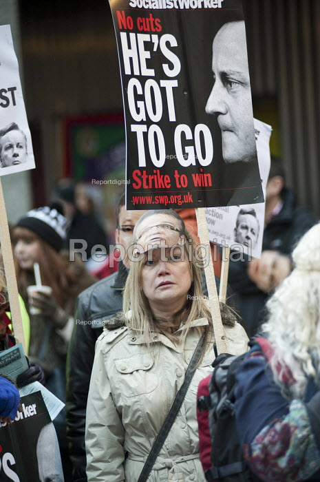 Teachers wearing Michael Gove masks rally in Westminster to protest at government policies on pensions, pay & conditions, academies and education cuts. - Philip Wolmuth - 2013-03-13