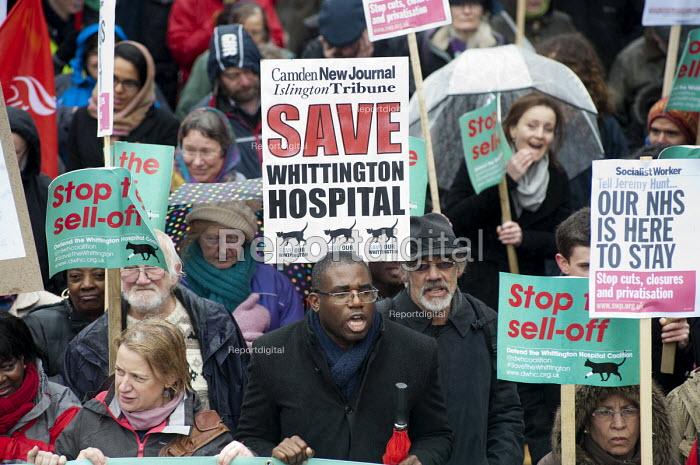 Labour MP David Lammy. Save Whittington Hospital Campaign march and rally, Islington, London. - Philip Wolmuth - 2013-03-16