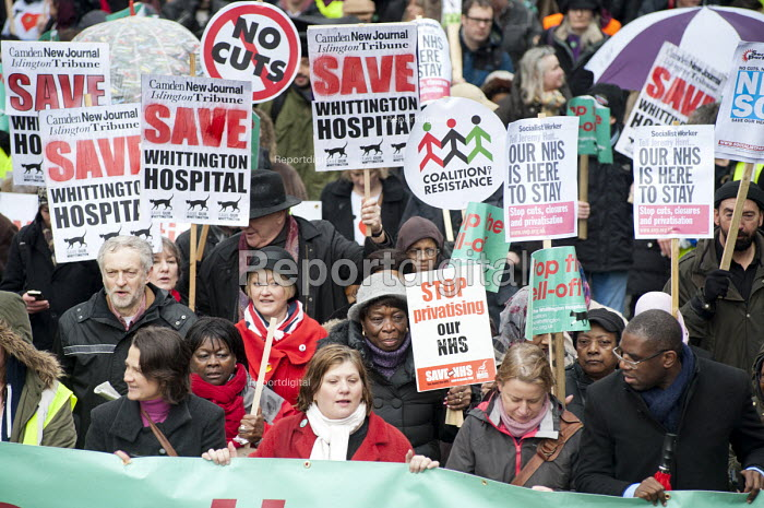 Labour MPs Jeremy Corbyn, Emily Thornberry and David Lammy. Save Whittington Hospital Campaign march and rally, Islington, London. - Philip Wolmuth - 2013-03-16