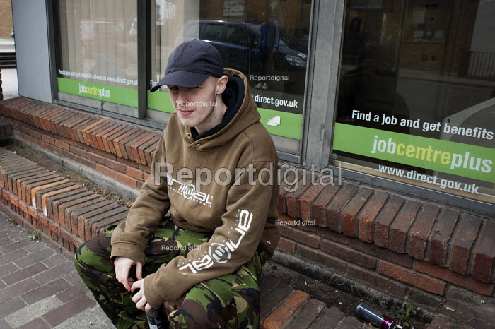 Unemployed young men outside Margate JobCentre. - Philip Wolmuth - 2013-04-16
