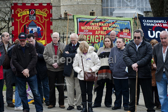 One minutes silence to commemorate each of those killed in workplace accidents. International Worker's Memorial Day rally to commemorate those killed in accidents at work. Tower Hill, London. - Philip Wolmuth - 2013-04-28