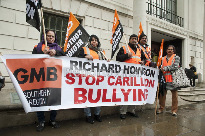 Ancillary workers from the Great Western Hospital in Swindon, built and managed by Carillion, protest at bullying and blacklisting by the company, outside an awards event at the Royal Institute of British Architecture, London. Richard Howson is Carillion CEO. - Philip Wolmuth - 2013-05-16