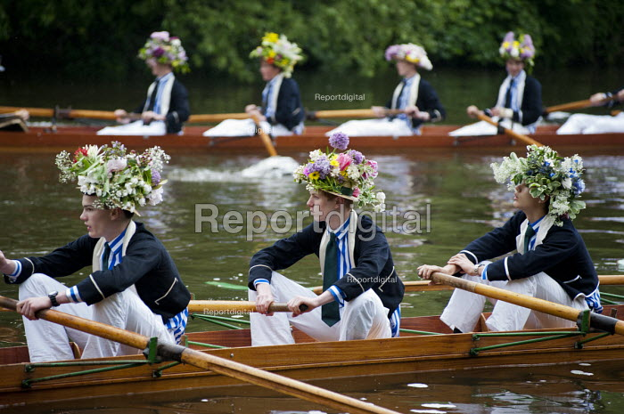 Eton College schoolboys rehearse the annual Procession of Boats ceremony the Fourth of June on the River Thames. For over two hundred years Eton has celebrated the birthday of King George III with the fluvial pageant. - Philip Wolmuth - 2013-05-29