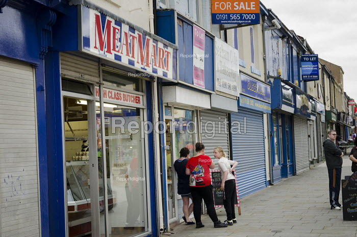 Butcher, closed shops and businesses for sale in Seaham high street, County Durham. - Philip Wolmuth - 2013-08-10