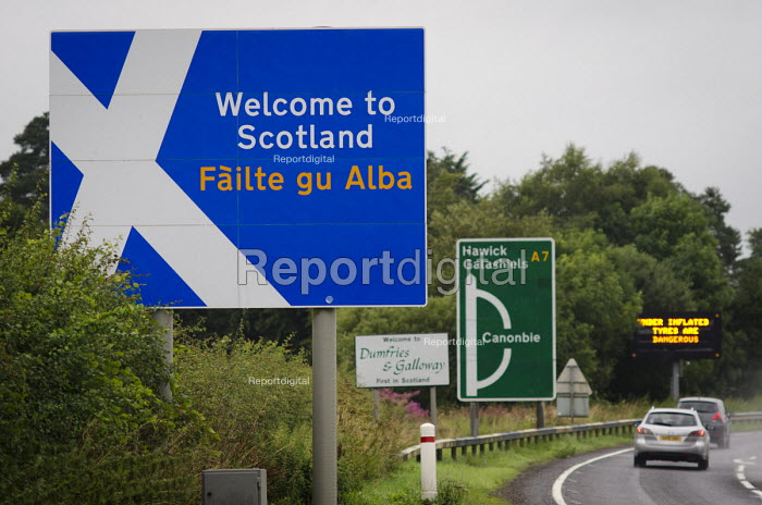 Welcome to Scotland road sign, Dumfries and Galloway. - Philip Wolmuth - 2013-08-15