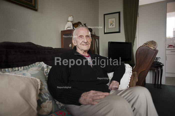 George Phillips (94) has lived in his flat on the Regents Park Estate in West Euston since it was built in 1955. His block, Eskdale, will be demolished when work begins on the HS2 high-speed rail line to Birmingham in 2016. - Philip Wolmuth - 2013-04-19