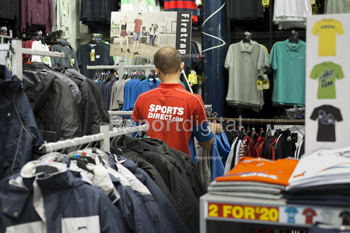 Sports Direct store, London. 90% of staff at the sportswear chain are employed on zero hours contracts. - Philip Wolmuth - 2013-09-13