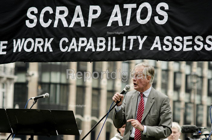 Michael Meacher MP. 10,000 Cuts and Counting memorial service in Parliament Square, London, to commemorate those who have died shortly after undergoing a Work Capability Assessment by government contractor Atos. - Philip Wolmuth - 2013-09-28