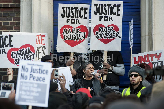 Marcia Rigg, twin sister of Sean Rigg, who died in police custody in Brixton in 2008. No Justice, No Peace vigil outside Tottenham Police Station in support of the family of Mark Duggan, whose killing by armed police sparked the 2011 riots, and in memory of others who have died during arrest or in poice custody. - Philip Wolmuth - 2014-01-11
