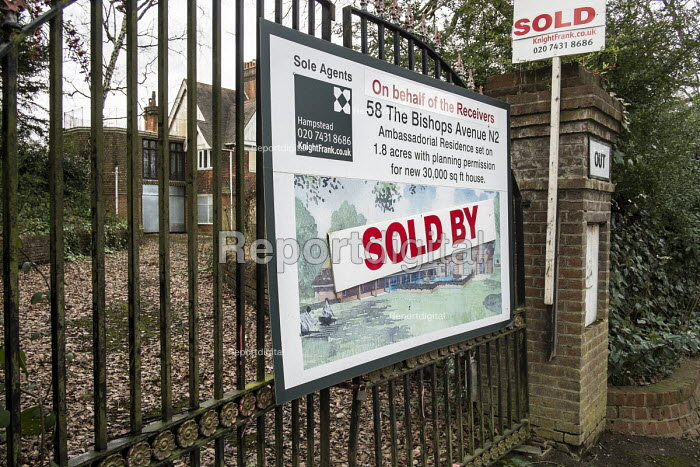 Sold. One of a large number of empty mansions in The Bishops Avenue in north London. Many houses in the street, also known as Billionaire's Row, have been left vacant by their mostly overseas owners. - Philip Wolmuth - 2014-02-03
