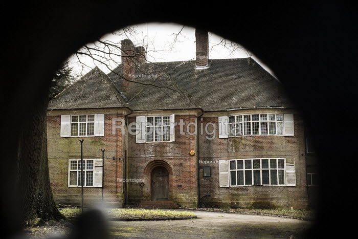 View through locked gates of Oak Lodge, one of a large number of empty mansions in The Bishops Avenue in north London, also known as Billionaire's Row. The house is owned by a Bahamas-registered company and is estimated to be worth �18 million. - Philip Wolmuth - 2014-02-03
