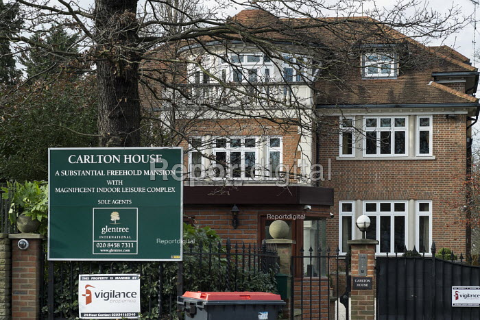 Carlton House, in The Bishops Avenue in north London, for sale following its court seizure from a Kazakh billionaire. Many houses in the street, also known as Billionaire's Row, have been left vacant by their mostly overseas owners. - Philip Wolmuth - 2014-02-03
