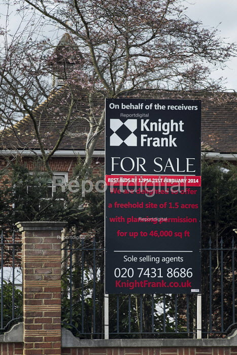 For Sale. One of a large number of empty mansions in The Bishops Avenue in north London. Many houses in the street, also known as Billionaire's Row, have been left vacant by their mostly overseas owners. - Philip Wolmuth - 2014-02-03