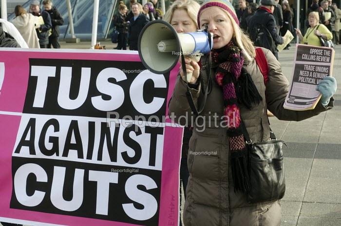 TUSC protest. Labour Party Special Conference on reform of its link to trade unions, ExCel Centre, London. - Philip Wolmuth - 2014-03-01