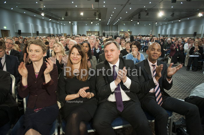 Yvette Cooper MP, Ed Balls MP, Chuka Umunna MP. Labour Party Special Conference on reform of its link to trade unions, ExCel Centre, London. - Philip Wolmuth - 2014-03-01