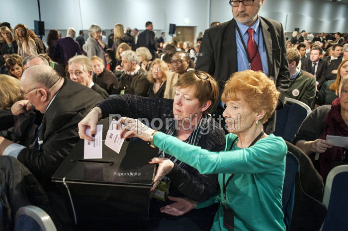 Mary Turner GMB casting a card vote. Labour Party Special Conference on reform of its link to trade unions, ExCel Centre, London. - Philip Wolmuth - 2014-03-01