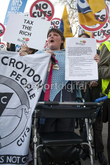 Tax the rich. Bromley and Croydon Disabled People aginst the Cuts. The Peoples Assembly Budget Day protest against austerity and public spending cuts, Downing Street, London. - Philip Wolmuth - 2014-03-19