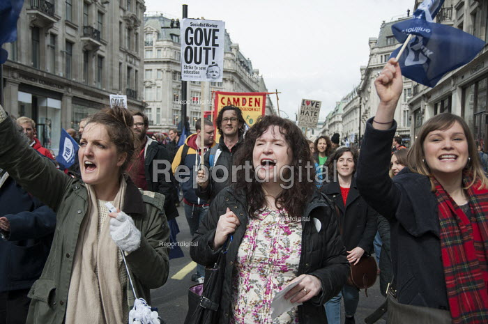 Teachers march in London during a one-day national strike called by the NUT over pay structures, pensions and working hours. - Philip Wolmuth - 2014-03-26