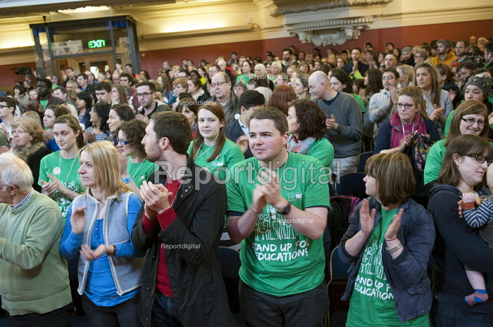 One minute standing ovation in memory of Bob Crow and Tony Benn, Central Hall, Westminster. Teachers one-day national strike called by the NUT over pay structures, pensions and working hours. - Philip Wolmuth - 2014-03-26