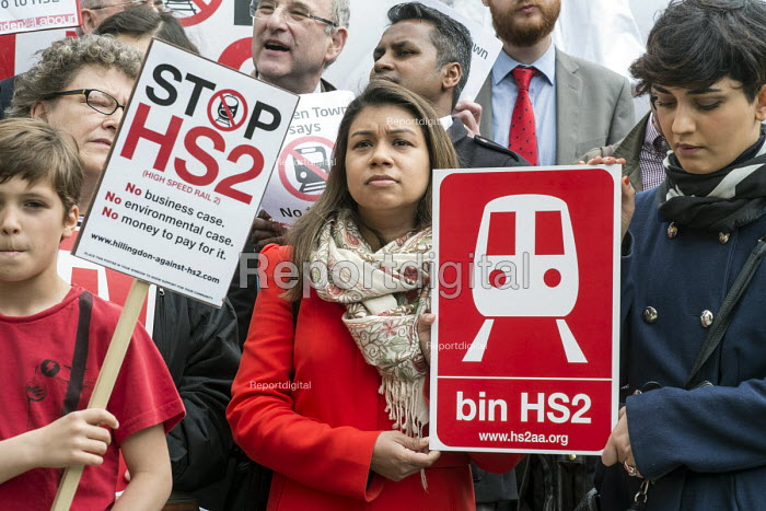 Camden Councillor Tulip Siddiq. Stop HS2 demonstration outside Parliament on the day of the second reading of the HS2 Hybrid Bill. - Philip Wolmuth - 2014-04-28