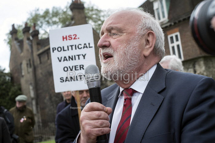 Frank Dobson MP. Stop HS2 demonstration outside Parliament on the day of the second reading of the HS2 Hybrid Bill. - Philip Wolmuth - 2014-04-28