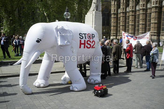 White elephant. Stop HS2 demonstration outside Parliament on the day of the second reading of the HS2 Hybrid Bill. - Philip Wolmuth - 2014-04-28