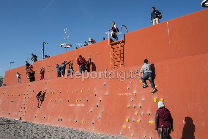 Climbing wall at the Queen Elizabeth Olympic Park, Stratford. - Philip Wolmuth - 2014-04-15