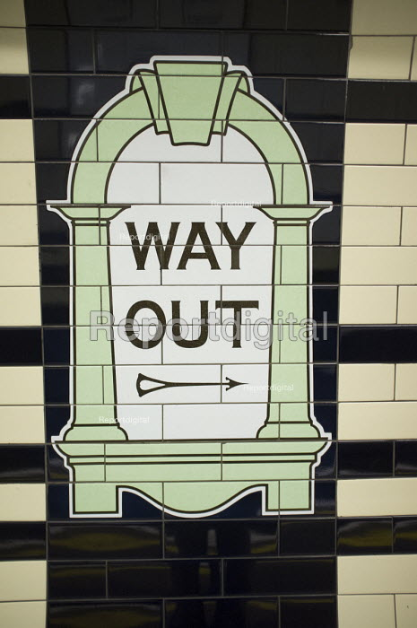 Way Out. Sign at Warren Street tube station, London. - Philip Wolmuth - 2014-08-18