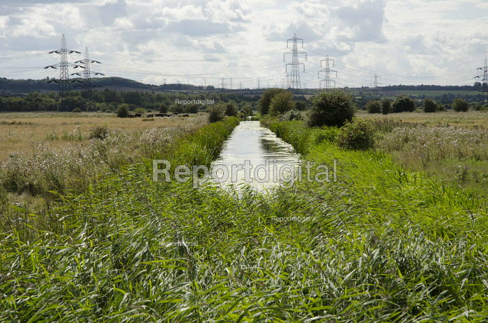 Electricity pylons cross marshland on the Kent shore of the Thames estuary. - Philip Wolmuth - 2014-08-23