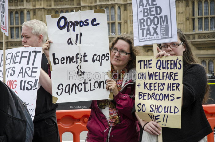 Demonstration outside Parliament on a national day of protest against bedroom tax, benefit sanctions and cuts. - Philip Wolmuth - 2014-09-11