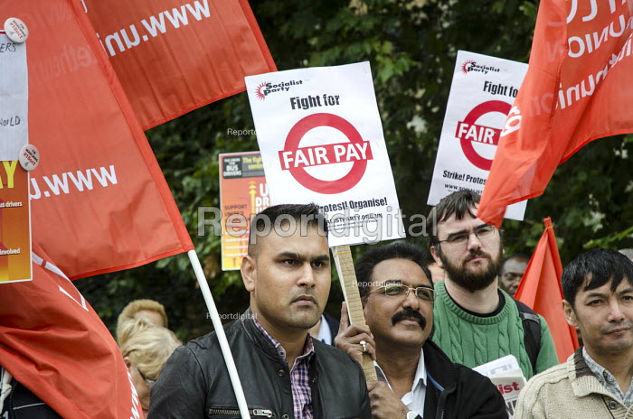 London bus drivers protest outside Parliament and call for strike action for collective bargaining rights and equal pay. - Philip Wolmuth - 2014-09-11