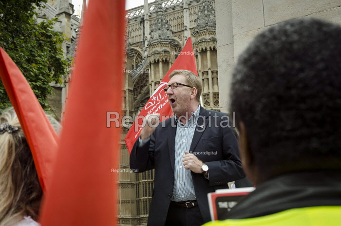 Len McCluskey, Unite Gen Sec London bus drivers protest outside Parliament and call for strike action for collective bargaining rights and equal pay. - Philip Wolmuth - 2014-09-11