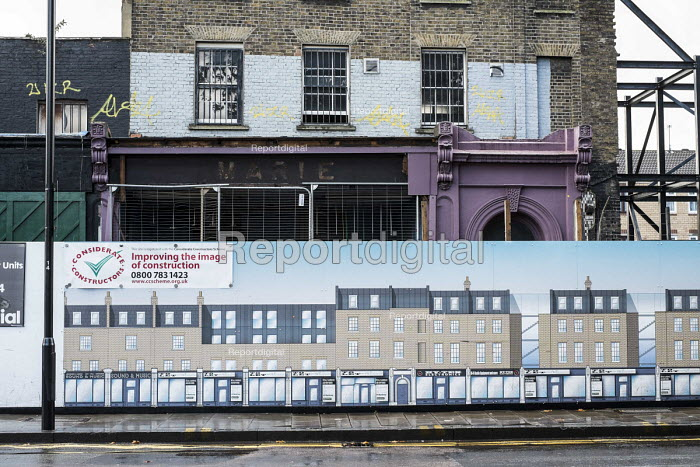 Victorian terrace of shops and flats awaiting demolition and reconstruction in Dalston, Hackney. - Philip Wolmuth - 2014-10-08