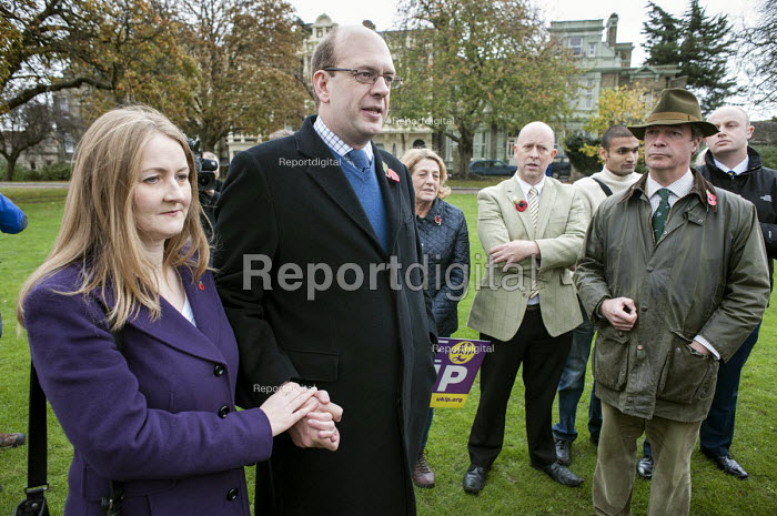 Ex-Conservative MP Mark Reckless the UKIP candidate, and his wife. UKIP leader Nigel Farage, ex-Conservative Party MP Mark Reckless, the UKIP candidate, campaign in Rochester before the Rocester and Strood by-election. - Philip Wolmuth - 2014-11-08