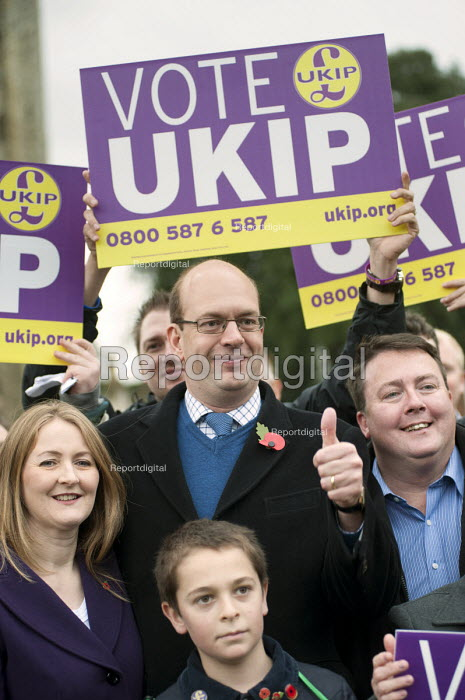 Ex-Conservative MP Mark Reckless the UKIP candidate, wife and supporters UKIP campaign in Rochester before the Rochester and Strood by-election. - Philip Wolmuth - 2014-11-08