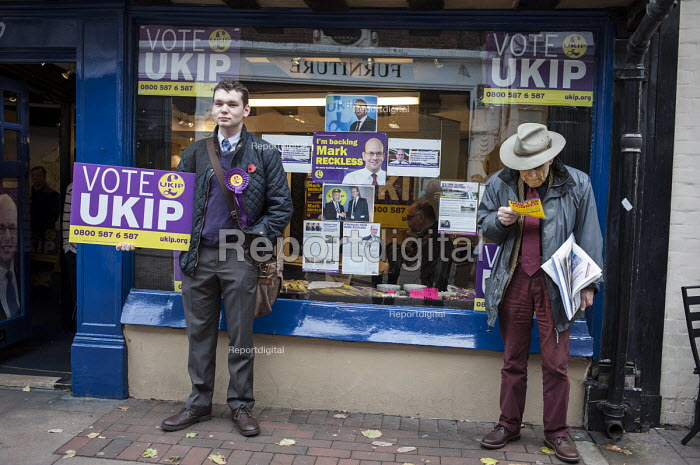 Outside the Rochester UKIP HQ. UKIP leader Nigel Farage and ex- MP Mark Reckless, the UKIP candidate, campaign in Rochester before the Rochester and Strood by-election. - Philip Wolmuth - 2014-11-08