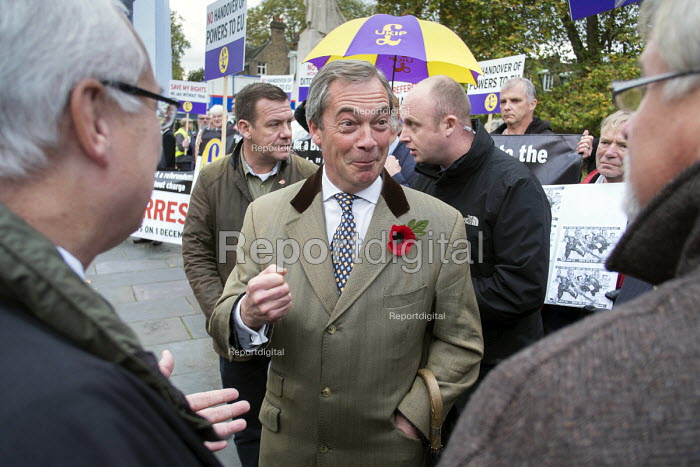 Nigel Farage, MEP. UKIP lobby of Parliament against the handover of legal powers, including the European Arrest Warrant, to the EU. Old Palace Yard, Westminster, London. - Philip Wolmuth - 2014-11-10