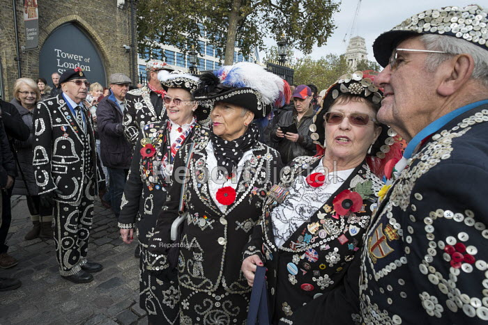 Pearly Queens and Kings from different London boroughs. Crowds mark Armistice Day at the Tower of London 100 years after the start of the First World War. - Philip Wolmuth - 2014-11-11