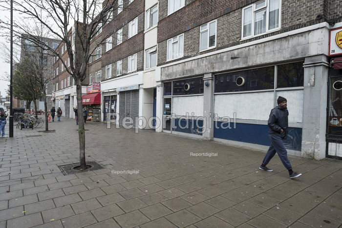 Closed shops on the New Era Estate. The estate in Hoxton, London, has been taken over by US property company Westbrook Partners. - Philip Wolmuth - 2014-11-22