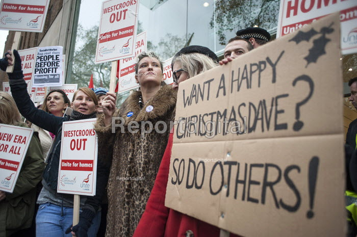 Protest at proposed rent rises by residents and supporters outside the Mayfair offices of US property company Westbrook Partners, which recently bought their homes on the New Era Estate in Hoxton, London. - Philip Wolmuth - 2014-12-01
