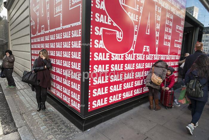 Spanish fashion chain Bershka store, January sales, Oxford Street London. - Philip Wolmuth - 2015-01-02