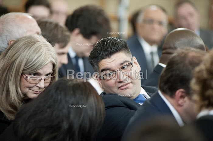 David Burrowes, Conservative MP for Enfield Southgate, talks with constituency association members at a Conservative Party general election press conference, Kingsmead School, Enfield, London. - Philip Wolmuth - 2015-02-02