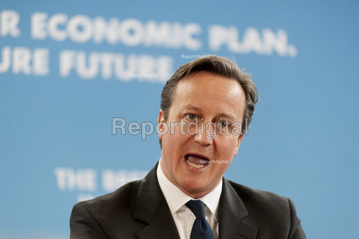 Prime Minister David Cameron MP addresses a Conservative Party general election press conference at Kingsmead School, Enfield, London. - Philip Wolmuth - 2015-02-02
