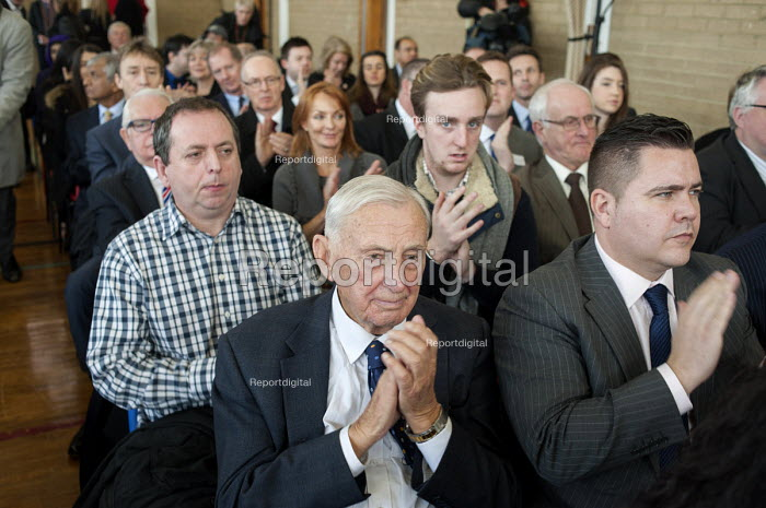 Local Conservative Association members at a Conservative Party general election press conference at Kingsmead School, Enfield, London. - Philip Wolmuth - 2015-02-02