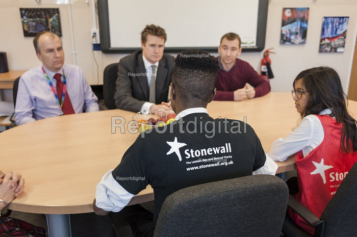 Campaigner Charlie Condou with Tristram Hunt MP visiting Little Ilford School in Newham, London, to discuss the school's work with Stonewall on its campaign against homophobic bullying. - Philip Wolmuth - 2015-02-03