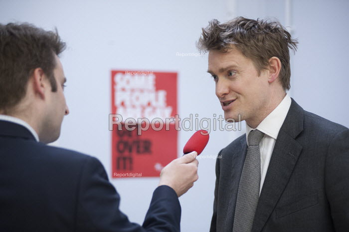 A journalist interviews Tristram Hunt MP visiting Little Ilford School in Newham, London, to discuss the schools work with Stonewall on its campaign against homophobic bullying. - Philip Wolmuth - 2015-02-03